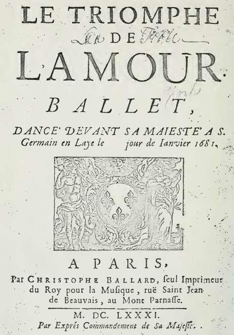 frontespizio del libretto di Le Triomphe de l'Amour
