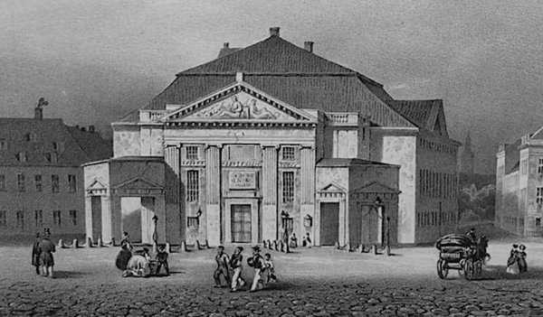 veduta esterna del vecchio Teatro Reale Danese, illustrazione