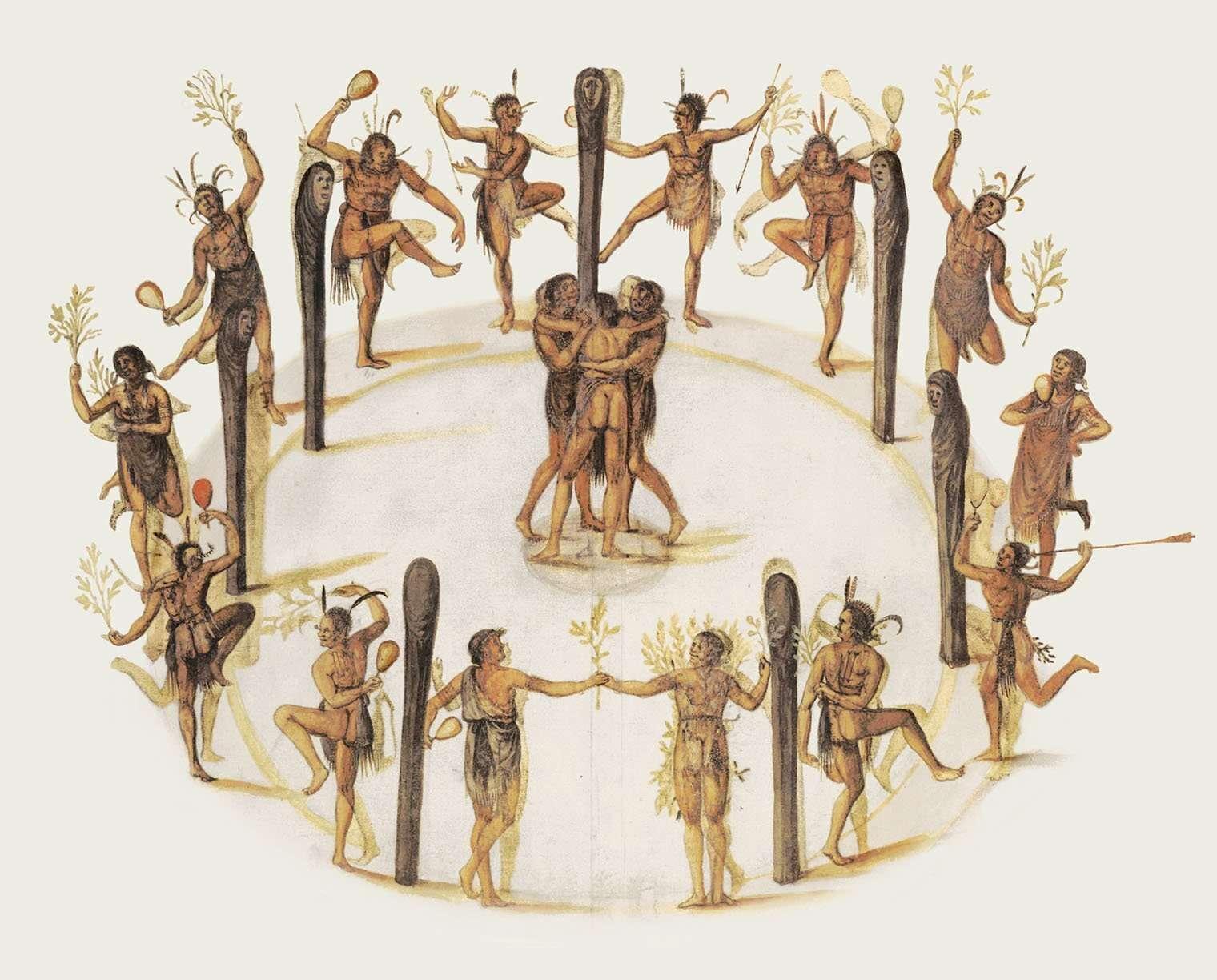 nativi mentre danzano la Ghost Dance
